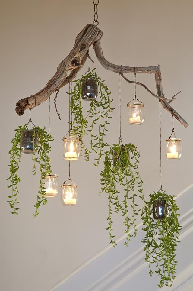 groß  How to make a cascading plant chandelier