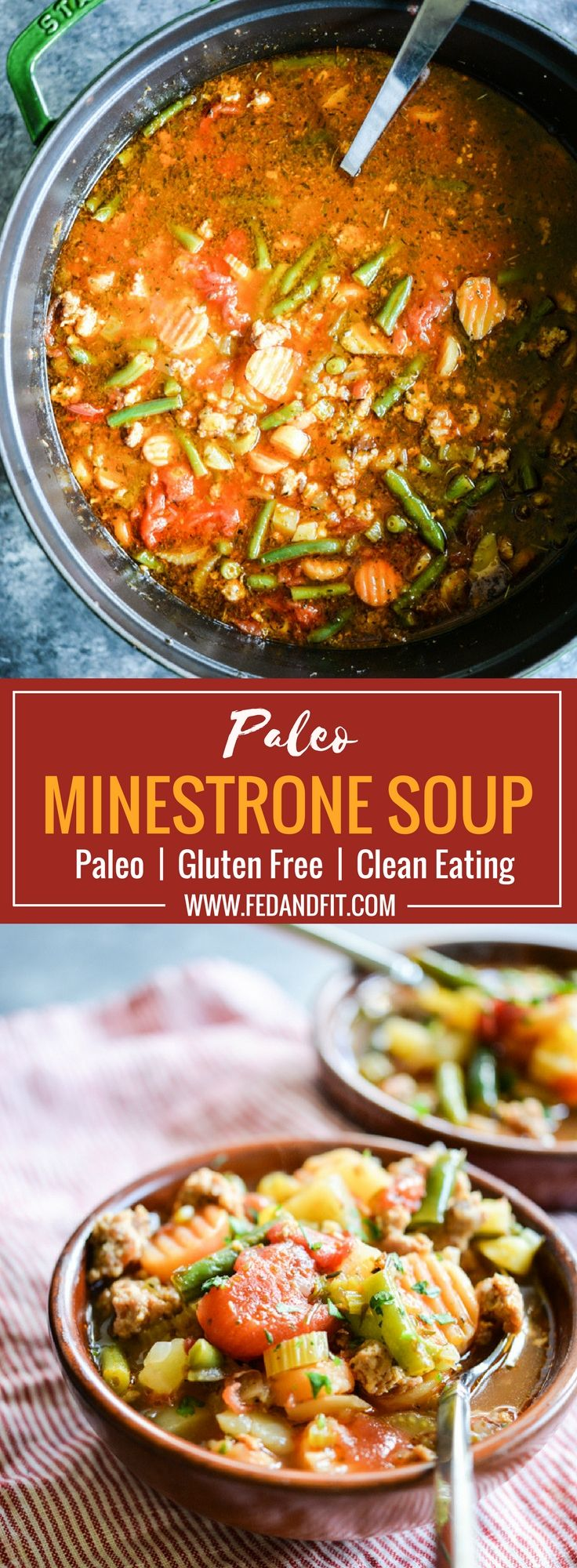 This easy, healthy minestrone soup recipe is loaded with tons of Italian sausage and veggies! If you are looking for a satisfying whole30 soup, this is it. This gluten free minestrone also makes for a great Paleo soup you'll want to eat all winter long! #paleosoups #soup #glutenfree