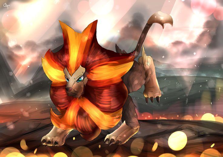 Day 190 - Kaenjishi | カエンジシ | Pyroar (Male) Atop Mt. Chimney, Amongst the ash, smoke and flames, A kingdom rises. (P.S. I make a new Pokémon drawing every si...