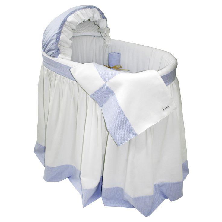 bassinet bedding | White Pique & Blue Seersucker Bassinet ...