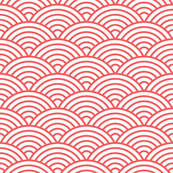 Scalloped fish scale fabric by the yard coral and white for Fish pattern fabric