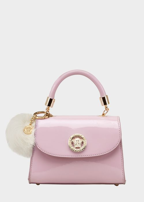 Young Versace Medusa Patent Leather Bag for Girls | UK Online Store. Medusa Patent Leather Bag by Young Versace for Girls. Top handle bag in patent leather, with Medusa plaque and hardware. Features a long detachable shoulder strap.