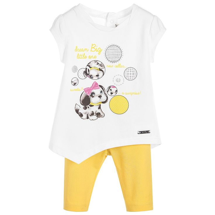 Mayoral Baby Girls 2-Piece White Top & Yellow Leggings Set at Childrensalon.com