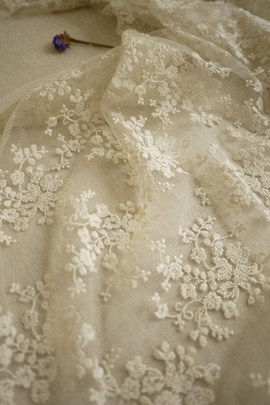 Ivory Bridal Lace Fabric, Retro Embroidered Lace, Chic Wedding Dress Lace, Veil Lace Fabric