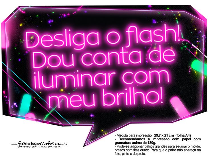 Plaquinhas Neon para Meninas 4