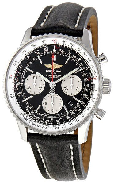 Breitling Men's NAVITIMER 01 Chronograph Watch - I only like this watch makers time peices in simple classic colors like this example
