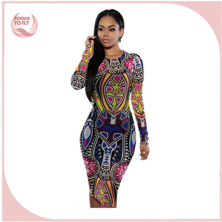 2017 mujeres vestidos estampados Africanos Vestidos de Las Señoras Delgadas Atractivas Impreso de Manga Larga Vestido Ajustado