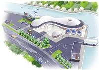 Taiji decided to build this place with restaurants and seafood stores for whale meat cuisine. It will open 2017 March. 道の駅「たいじ(仮称)」のイメージ図(国土交通省提供)