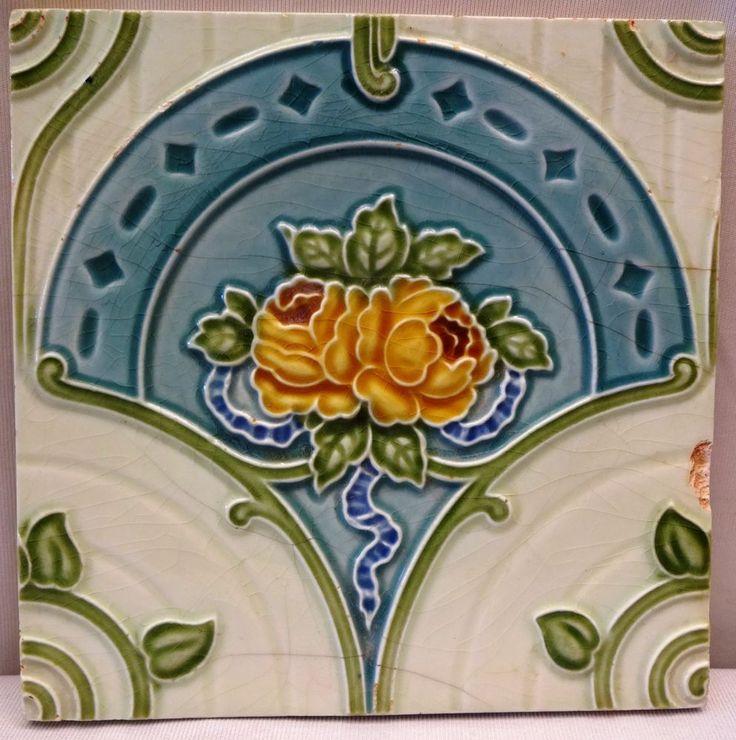 TILE CERAMIC PORCELAIN VINTAGE ART NOUVEAU ROSE H & R JOHNSON ENGLAND GENUINE #5 #HRJOHNSONENGLAND