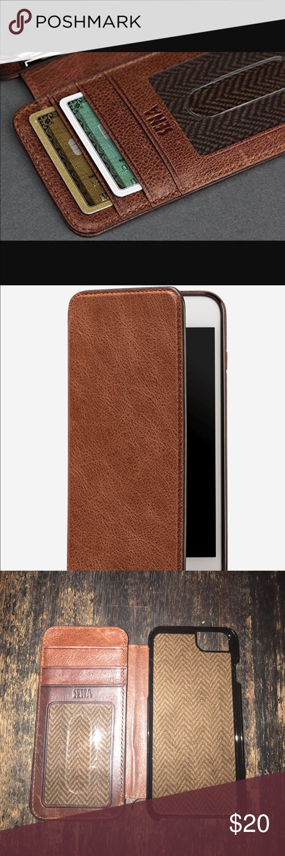 Sena iPhone 6 leather wallet phone case This case covers your iPhone as well as your essentials. It combines our most popular Drop Safe wallet solution. Shock-absorbent core Drop Safe Technology, Covered buttons, Soft herringbone lining, Precision cutouts, Crafted with Heritage leather that naturally scuffs and darkens with use, Perfect for use with Sena Cases Belt Clip Sena Accessories Phone Cases