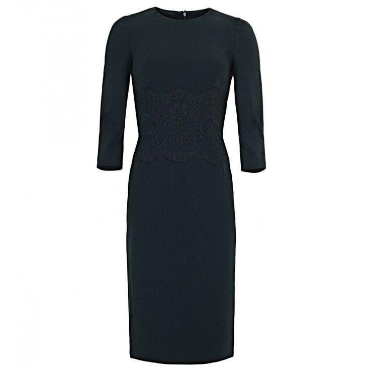 Dolce & Gabbana Black Long Sleeve Lace Appliqué Dress