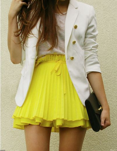 Spring skirt.: Fashion, Brightcolor, White Blazers, Style, Bright Color, Outfit, Yellow Skirts, Pleated Skirts, Neon Yellow