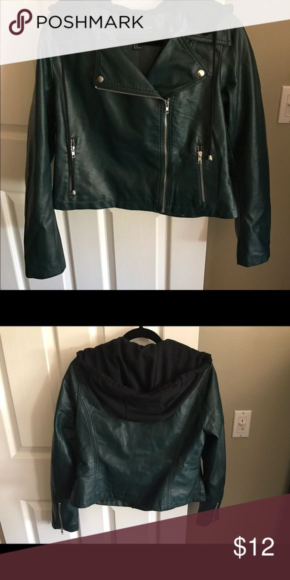 Forever21 plus size green hooded leather jacket New without tags, never worn. 0x size in a dark green color with black attachable hood. Cute jacket! Forever 21 Jackets & Coats Utility Jackets