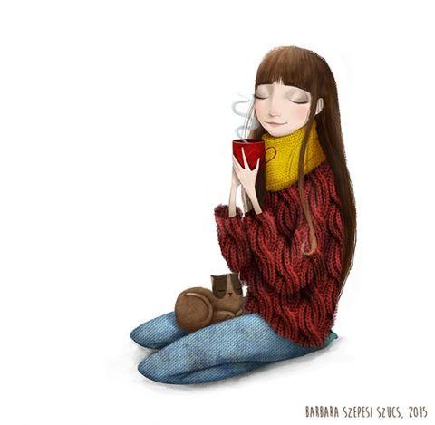 Egy bögre kávé - Print (Digitális), Képzőművészet , Dekoráció, Illusztráció, Kép, Meska