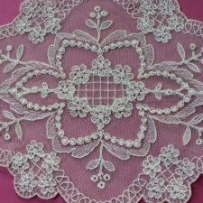 View Item: Vintage Off-white cotton embroidered flower Lace doily, France