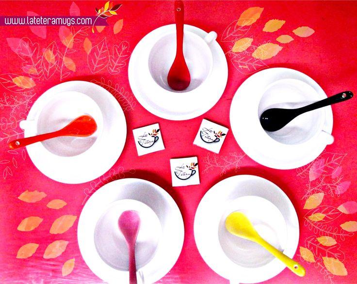 y que tus mañanas estén llenas de color y buen sabor!! NUEVA REFERENCIA!! Mug, plato y cuchara color!!  ww.lateteramugs.com