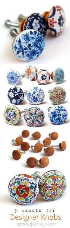 Anthropologie worthy DIY cabinet or door knobs that look like hand painted designer ceramic knobs! Download beautiful designs to make your own set easily!