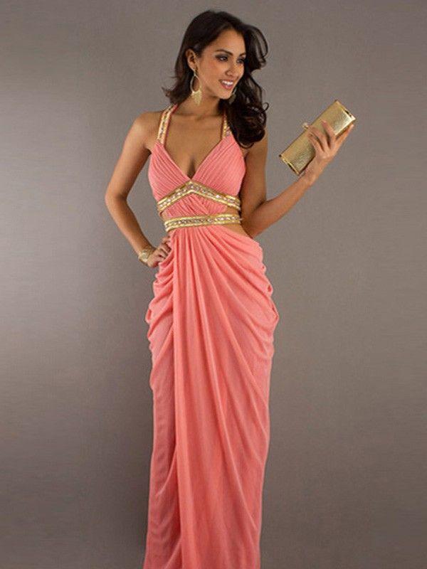 Sheath/Column V-neck Sleeveless Floor-Length Beading Chiffon Dresses PromEver