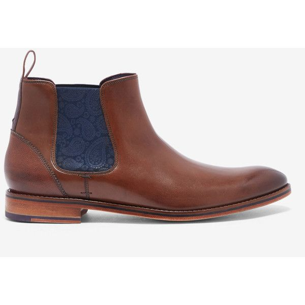 Leather Chelsea boots (775 RON) ❤ liked on Polyvore featuring men's fashion, men's shoes, men's boots, brown, mens leather shoes, mens brown shoes, mens brown leather shoes, mens leather boots and ted baker mens boots
