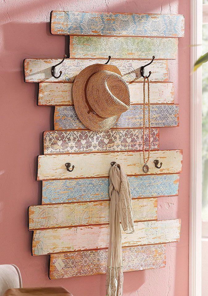 Home affaire Garderobe »Pastell« für 99,99€. Dekoratives Wandpaneel, Aus MDF, Mit 6 Haken, Praktisches Garderobenpaneel, Maße (B/T/H): 88/11,5/111 cm bei OTTO