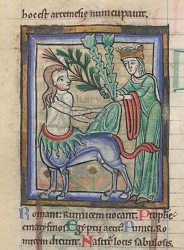 Chiron gives herbs to Artemis, England or France, c. 1175–1200, Sloane MS 1975, f. 17v