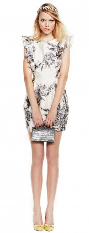 Ground a sparkly headband with a ruffled floral print dress :: click to shop this look