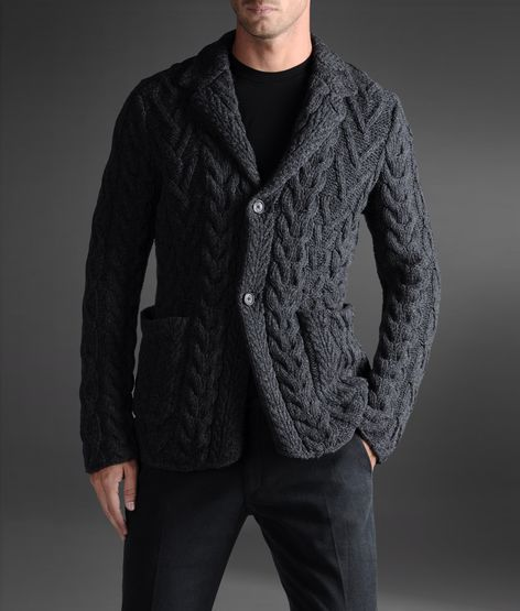 Armani Collezioni Men's Knit Jacket with Lapel Collar 100% Wool http://www.armani.com/us/armanicollezioni/knit-jacket_cod39317208cm.html#