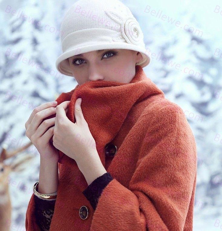 Chapeau tricoté femme ivoire fleur fashion beau leger