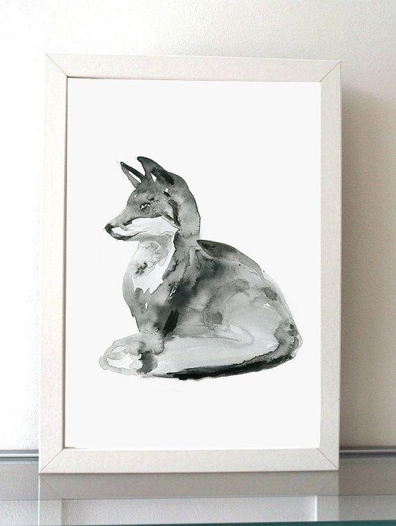 Reproductieprint van een vosje  Het origineel is verkocht  ➽ Over de Giclee Prints (A4 en kleiner) Het werk is geprint op speciaal handgeschept Fine Art