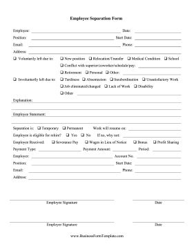 When an employee resigns, retires, is laid off, or is fired, employers can fill out this separation form for final records. Free to download and print