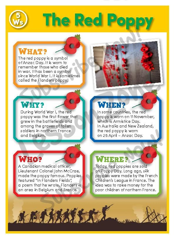 ANZAC - The Red Poppy poster from LESSON ZONE. This is one of their FREE printable resources.
