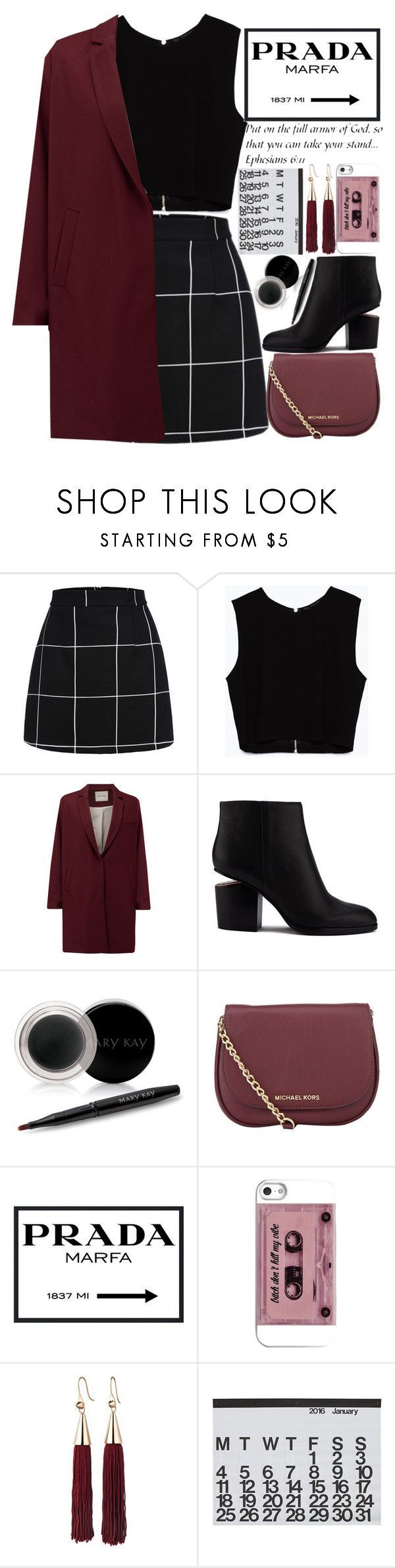 """""""Oxs Blood like/comment"""" by makfashions ❤ liked on Polyvore featuring Zara, American Vintage, Alexander Wang, Mary Kay, MICHAEL Michael Kors, Prada, Eddie Borgo, Crate and Barrel and WALL"""