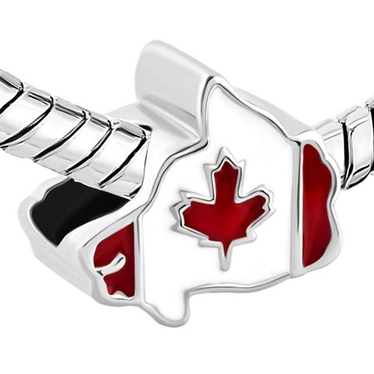 Maple Leaf Patriotic Proud To Be Canada Flag Of Canada Map Charm Beads Fit Pandora Bracelet