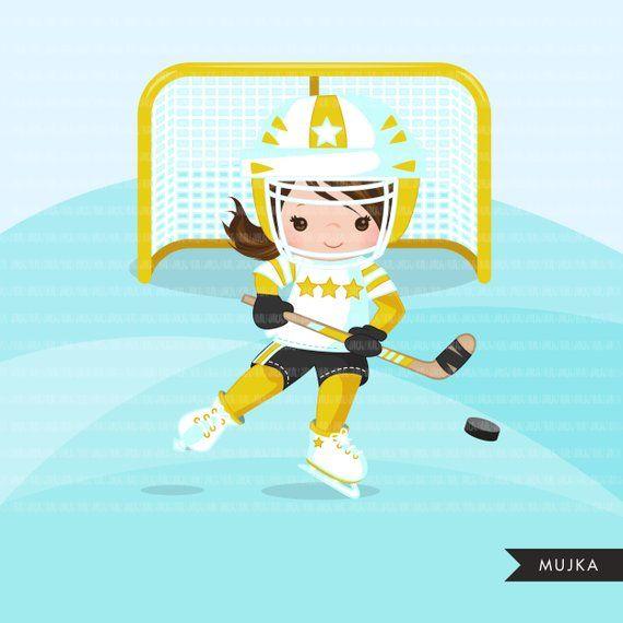 Hockey Clipart Sport Graphics Girls Hockey Player Etsy Sports Graphics Hockey Girls Yellow Team