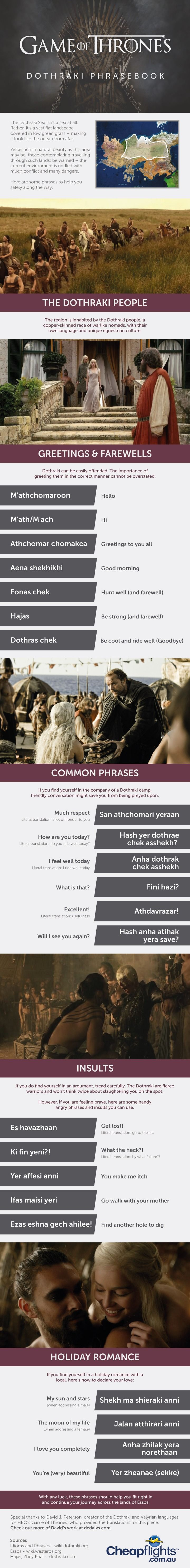 This handy Dothraki phrasebook to help make your journey across Essos a lot more comfortable. For the night is dark and full of grammar.