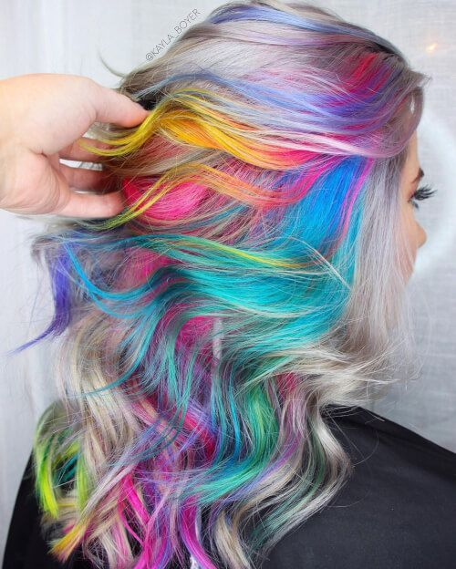 Rainbow Hair Color Ideas You'll Really Go Wild For! I really love this!