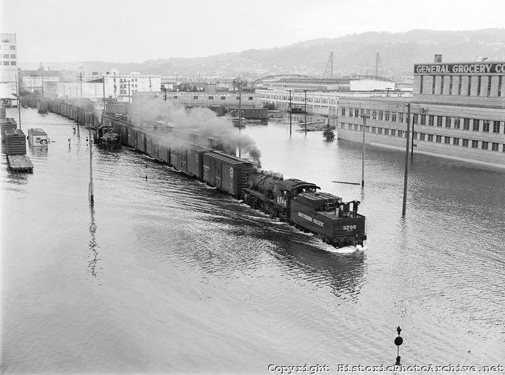 Portland flood, with switching trains operating near the Burnside Bridge. May 30, 1948.
