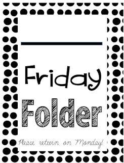 Miss Third Grade: Friday Folder Inserts