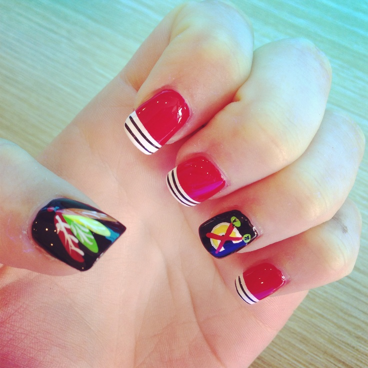 Best 19 Chicago Blackhawks Nails, Hair and Makeup ideas on Pinterest ...