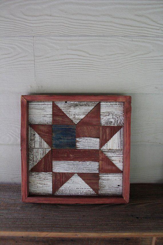 Barnwood rustic flag star quilt block, barnwood art, wall hanging rustic