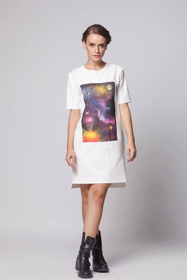 Pockets, clean lines, medium length, a colorful print…yes, we might have found the perfect dress! Universe Within Dress by Happy Friday available at Band of Creators Designers' Store.