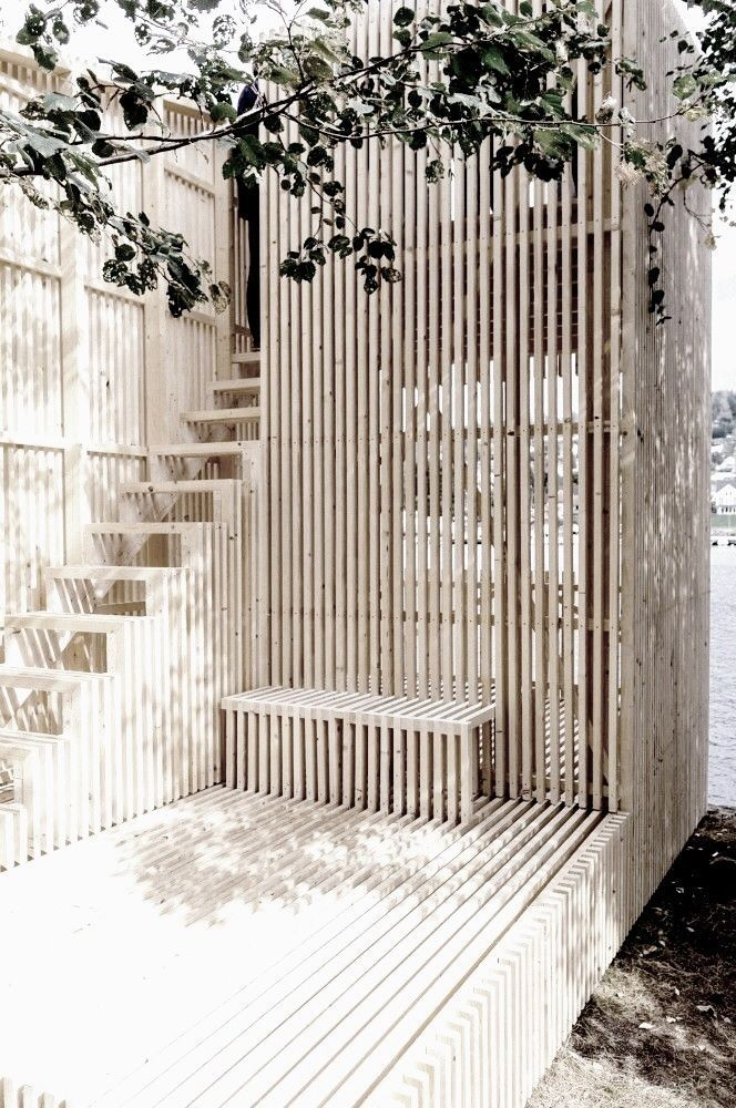 Slatted wood garden construction shape