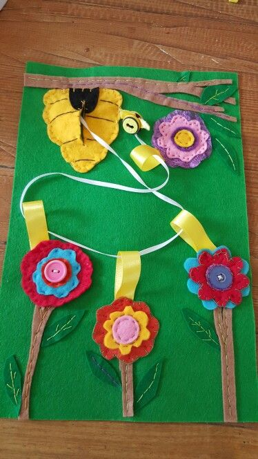 Quiet book page with threading bee