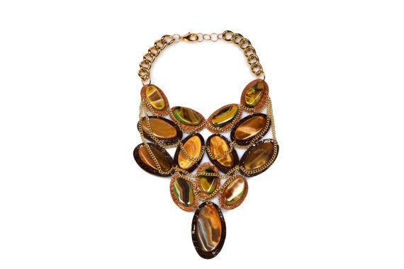 MARIANA / Brown Gemstone Bib Necklace, Brown Leather Statement Necklace, Agate Necklace, Bold Statement Necklace, Designer Jewelry, Handmade on Etsy, $179.00