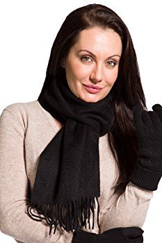 Fishers Finery 100% Cashmere Scarf, Super Soft, Warm, and Comfortable (Black)