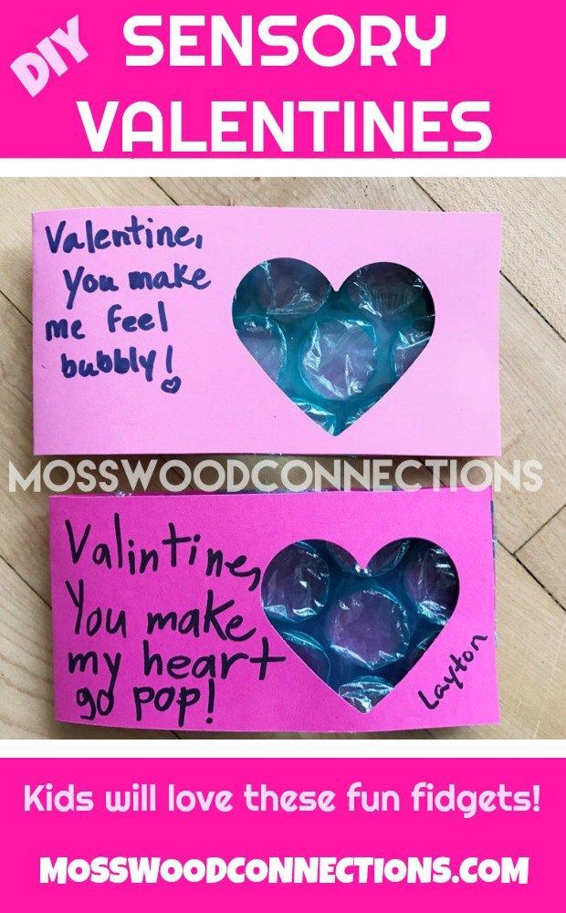 Easy Bubble Wrap Fidget Valentines. #valentines #DIY #Sensory #mosswoodconnections