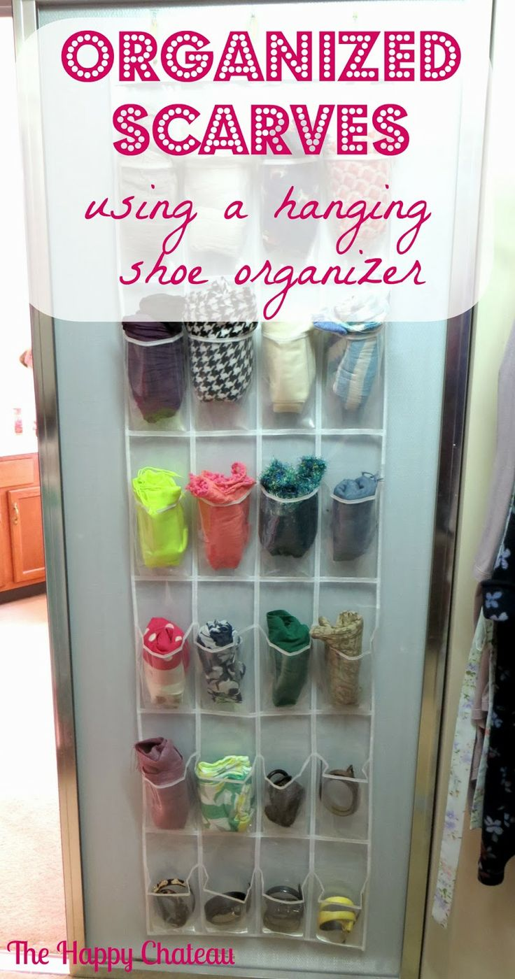The Hy Cau Organized Scarves Using A Hanging Shoe Organizer
