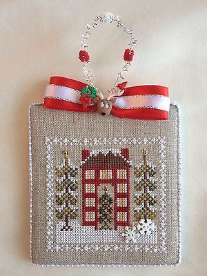 Finished-Completed-Cross-Stitch-Ornament-Snowy-Christmas