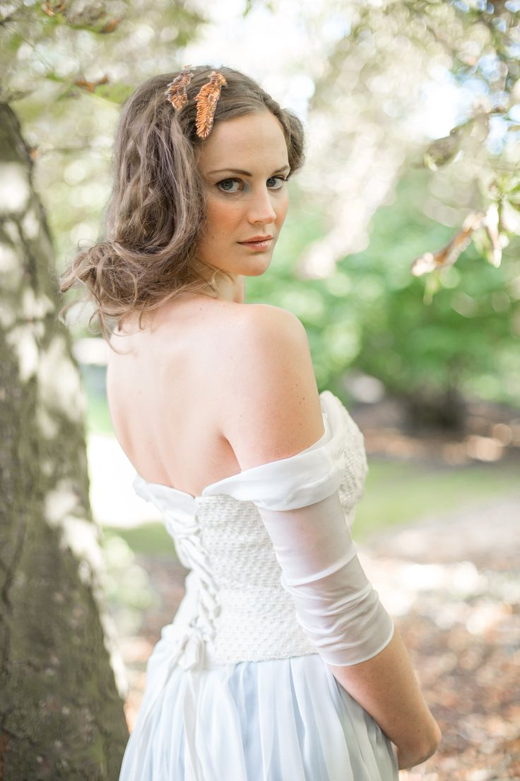 An off the shoulder bridal separate made with a unique knitted fabric.  100%silk