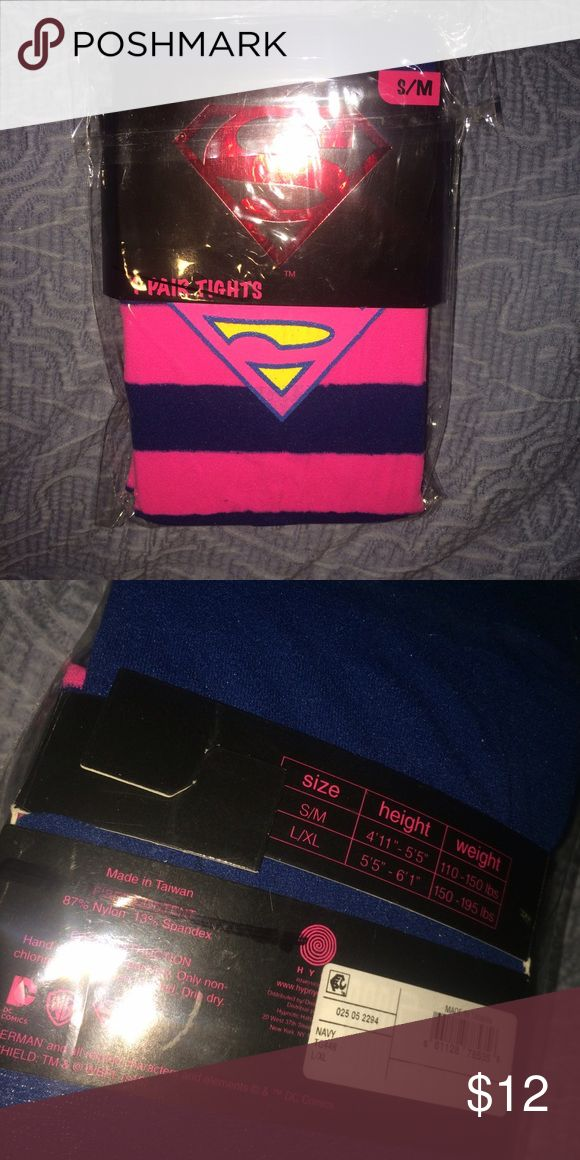 Superman blue and pink tights supergirl Superman pink and blue tights i looked at one pair thankfully and can tell you that the pink parts ombre down between the blue stripes. Has measurements shown in photos Accessories Hosiery & Socks